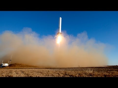 Cool SpaceX hovering rocket test